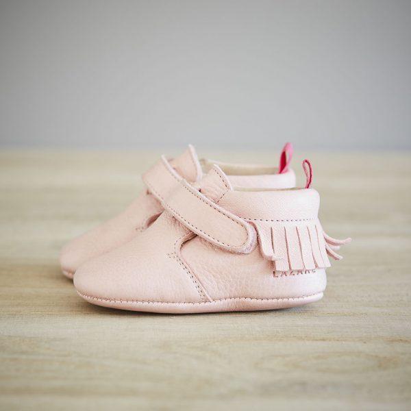 Lazare chaussons bébé modèle Eliot rose