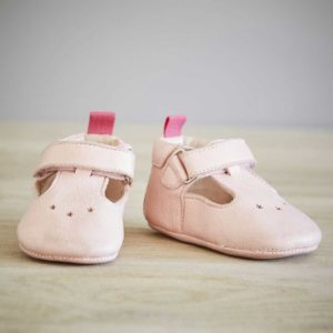 Chaussons bébé César rose