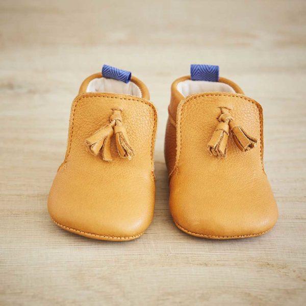 Chaussons bébé Basile camel
