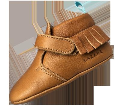 modele chausson bébé cuir souple marron Elliot