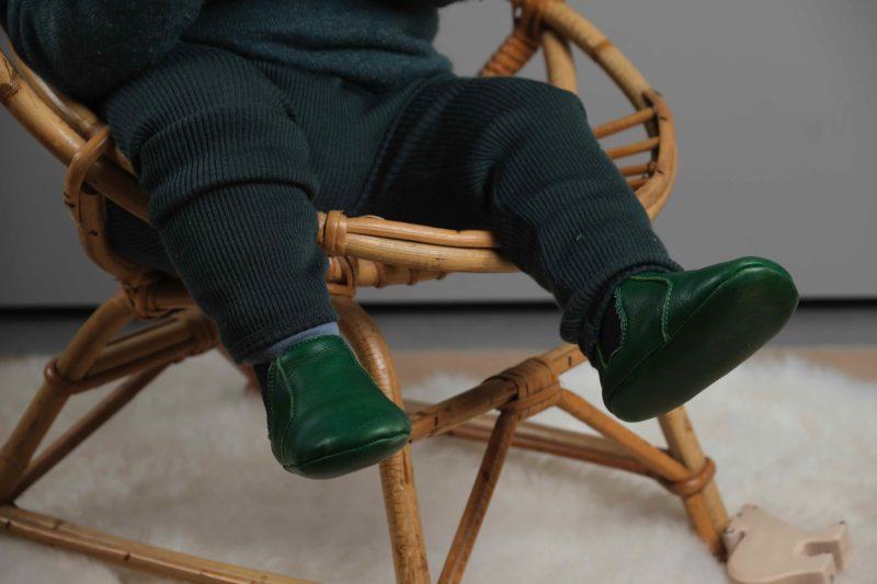 chaussons en cuir souple