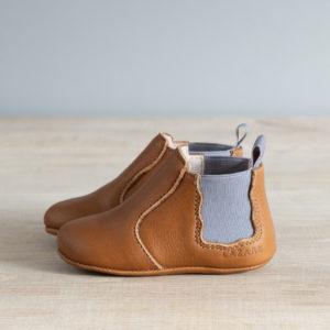 Chaussons bébé Oscar marron-élastique gris