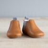 chausson chelsea boots couleur marron et gris de face