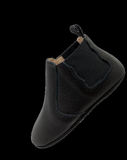 chaussons en cuir souple Oscar noir avec élastiques noires sur les côtés