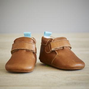 Chaussons bébé Achille marron-bleu