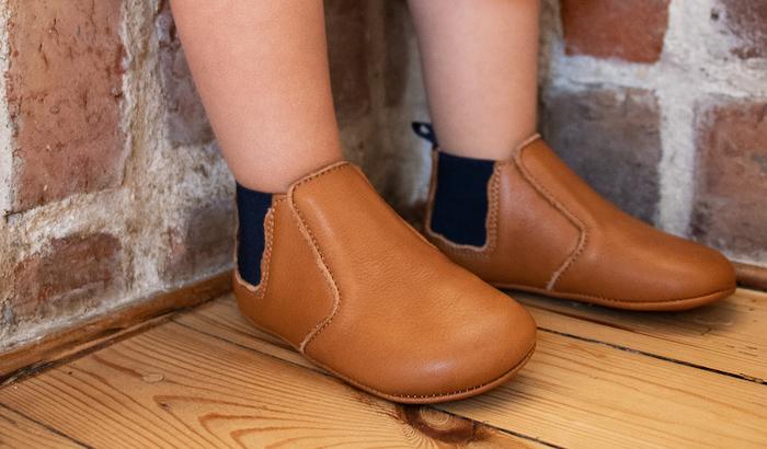 chausson en cuir boots élastique