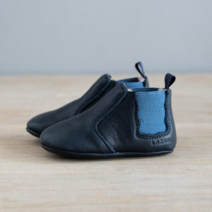 Chaussons bébé Oscar bleu marine-élastique bleu moyen