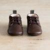 chaussons bébé en cuir souple Colombe chocolat languette kaki