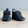 chaussons bébé en cuir souple Arielle bleu marine