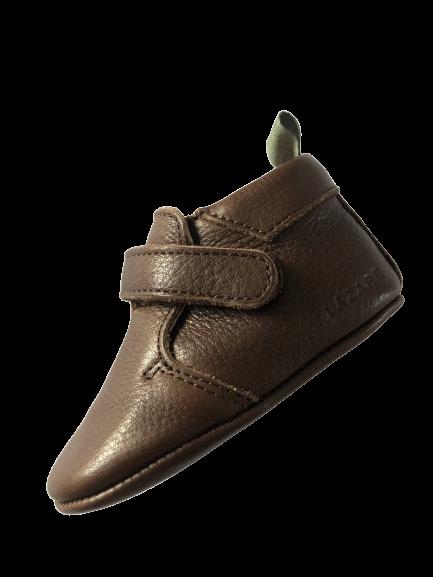 chaussons bébé en cuir souple Achille chocolat languette kaki