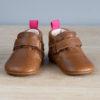 chaussons bébé en cuir souple Arielle marron vu face