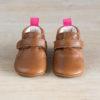 chaussons bébé en cuir souple Arielle marron vu dessus