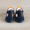 chaussons bébé César bleu marine en cuir souple vu de face
