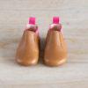 chaussons bébé Oscar marron élastique fuchsia en cuir souple vu de face