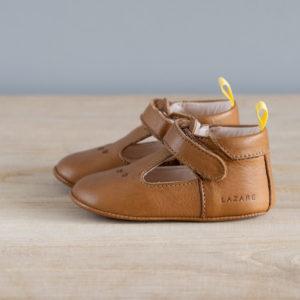 Chaussons bébé César marron-jaune