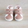 chaussures premiers pas Melodie blanc cassé - rose en cuir souple vu de face