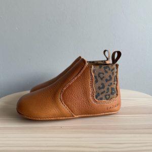 Chaussons bébé Oscar calvados-léopard