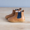 boots-chaussures-premiers-pas-Axelle-marron-elastique-bleu-vu-de-cote