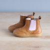 boots-chaussures-premiers-pas-Axelle-marron-elastique-rose-vu-de-cote