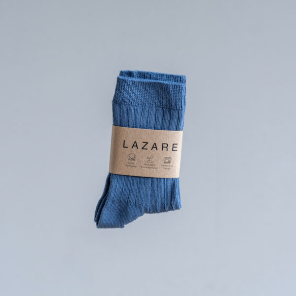 Chaussettes bébé côtelées bleu moyen