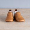 chaussons-premiers pas-en-cuir-souple-Oscar-couleur-marron-argent-vu-de-face