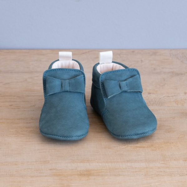 Chaussons bébé Arielle vert opale nubuck