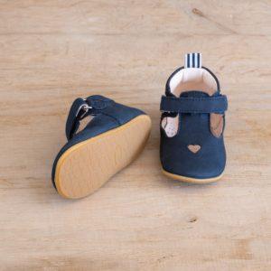 Chaussons bébé Solveig marine nubuck