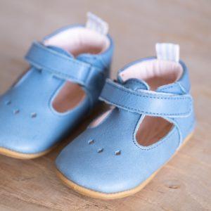 Chaussons bébé pauline bleu tempête